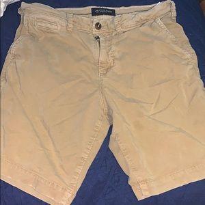 Khaki American eagle shorts barley worn